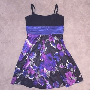 Black Mini Dress with blue and purple flowers